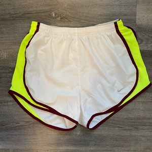 White & Neon Yellow Nike Dri Fit Shorts